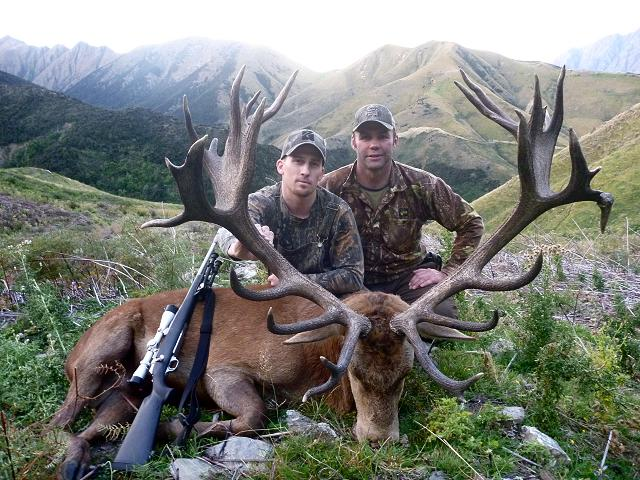 Clint Michels and his guide Tony with his red stag at Glen Dene